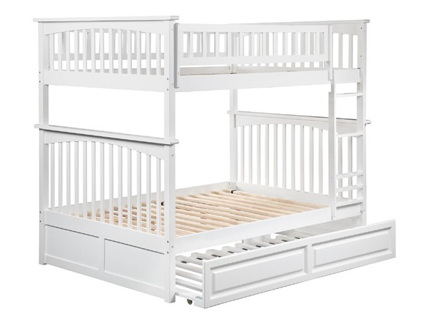 Atlantic Furniture Columbia White Full Over Full Bunk Bed with Raised Panel Trundle AB55532