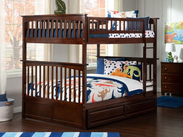 Atlantic Furniture Columbia Walnut Full Over Full Bunk Bed with Raised Panel Trundle AB55534
