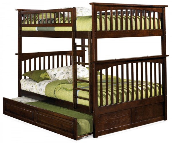 Columbia Antique Walnut Full/Full Raised Panel Trundle Bunk Bed AB55534