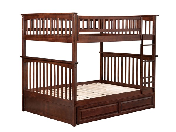 Atlantic Furniture Columbia Walnut Full Over Full Bunk Bed with Twin Raised Panel Trundle AB55534