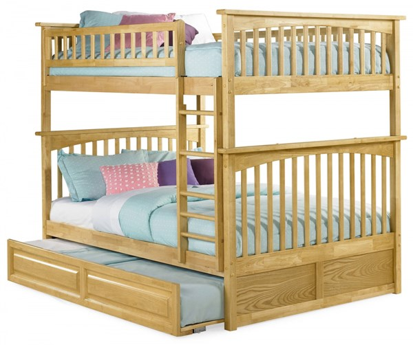 Columbia Natural Maple Wood Full/Full Raised Panel Trundle Bunk Bed AB55535