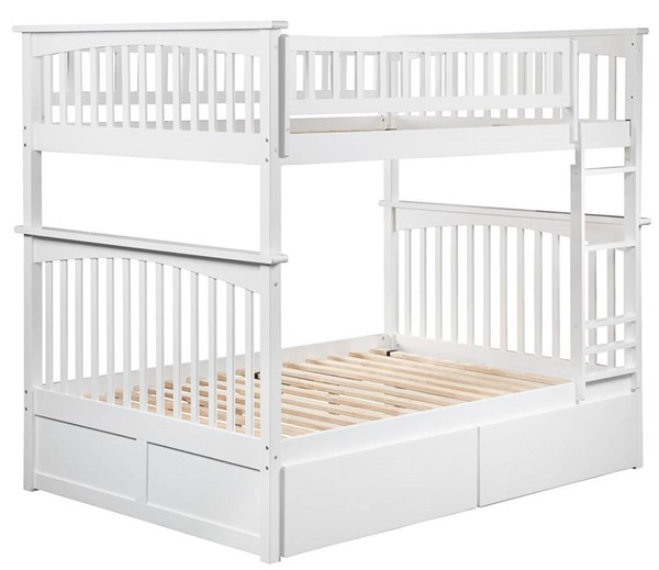 Atlantic Furniture Columbia White Full Over Full Bunk Bed with 2 Urban Drawers AB55542
