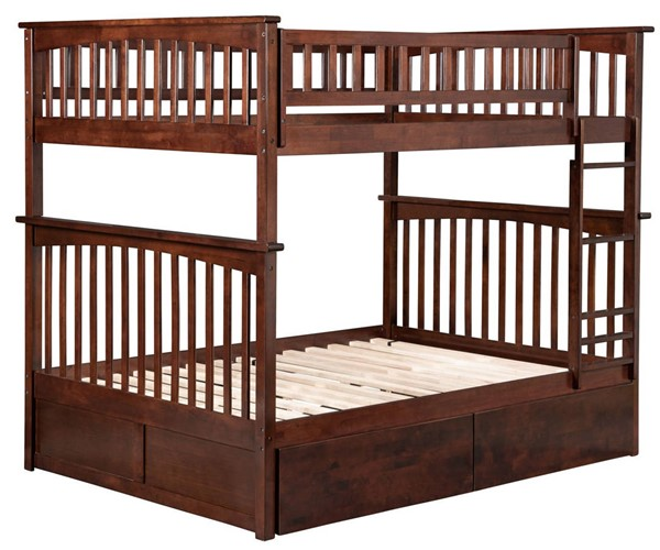 Atlantic Furniture Columbia Walnut Full Over Full Bunk Bed with 2 Urban Drawers AB55544