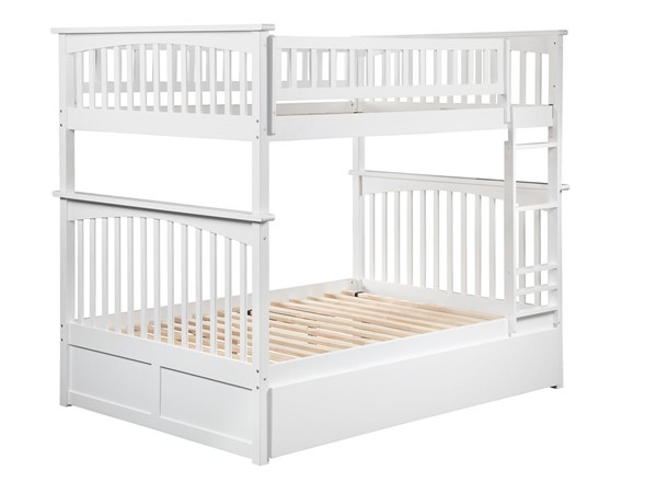 Atlantic Furniture Columbia White Full Over Full Bunk Bed with Twin Urban Trundle AB55552