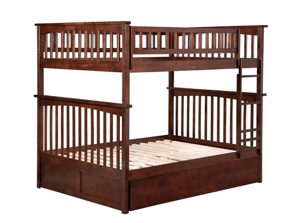 Atlantic Furniture Columbia Walnut Full Over Full Bunk Bed with Twin Urban Trundle AB55554