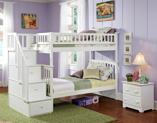 Atlantic Furniture Woodland Wood Bunk Beds with Staircase AB56-BUNK-STR-VAR