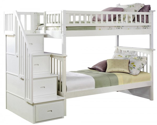 Columbia White Wood Staircase Twin/Twin Bunk Bed AB55602