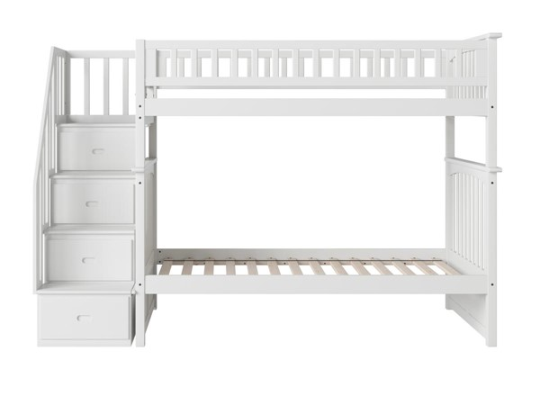 Atlantic Furniture Columbia White Bunk Beds with Staircase AB55-BUNK-VAR2