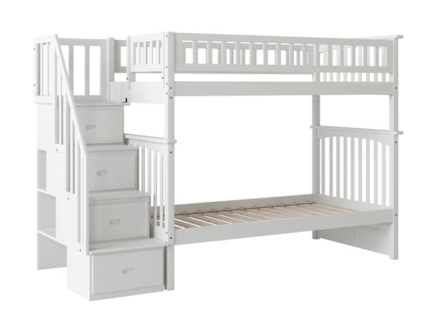 Atlantic Furniture Columbia White Staircase Twin Over Twin Bunk Bed AB55602