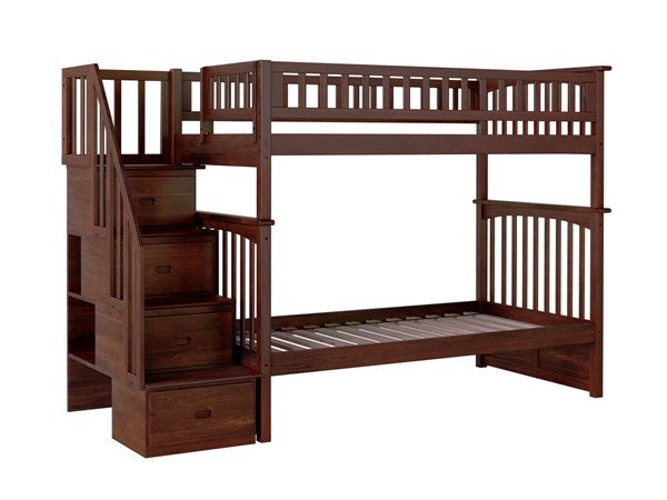 Atlantic Furniture Columbia Walnut Staircase Twin Over Twin Bunk Bed AB55604