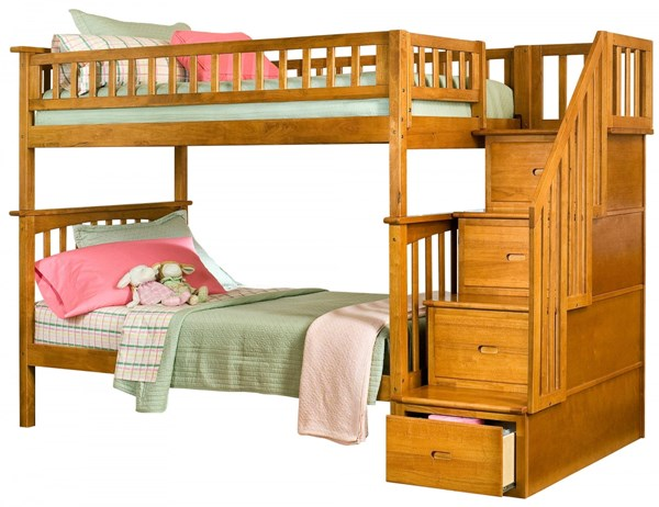 Columbia Caramel Latte Wood Staircase Twin/Twin Bunk Bed AB55607