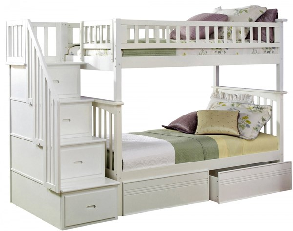 Atlantic Furniture Columbia White Staircase Bunk Bed with Flat Panel Drawers AB556-7-8-BB-VAR