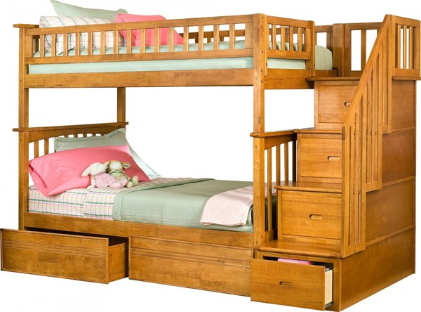 Columbia Caramel Latte Staircase Twin/Twin Flat Panel Drawers Bunk Bed AB55617