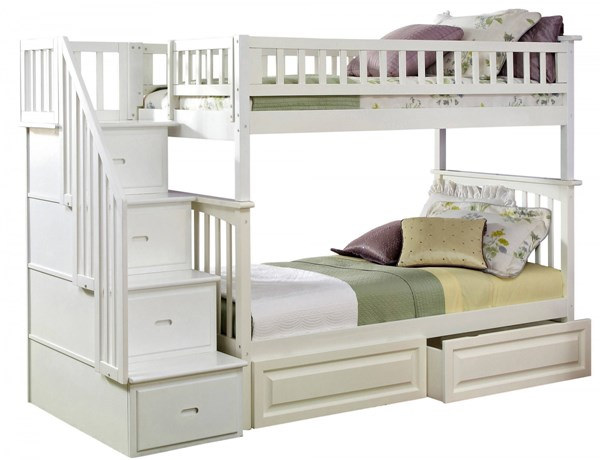 Columbia White Staircase Twin/Twin Raised Panel Drawers Bunk Bed AB55622