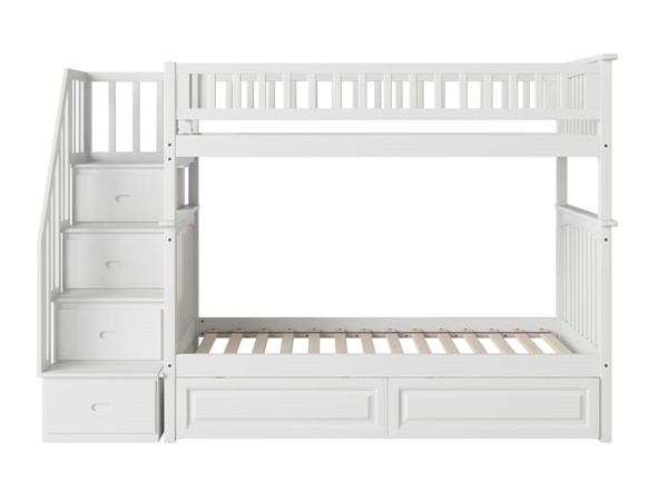 Atlantic Furniture Columbia White Staircase Twin Over Twin Bunk Bed with Raised Panel Drawers AB55622