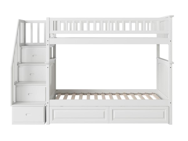 Atlantic Furniture Columbia White Staircase Bunk Beds with Raised Panel Drawers AB556-7-8-BB-RSD-DWR-VAR