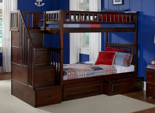 Columbia Walnut Staircase Twin/Twin Raised Panel Drawers Bunk Bed AB55624