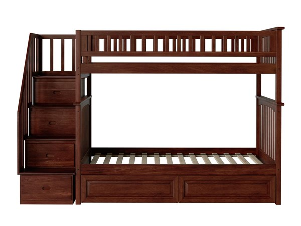 Atlantic Furniture Columbia Walnut Staircase Twin Over Twin Bunk Bed with Raised Panel Drawers AB55624
