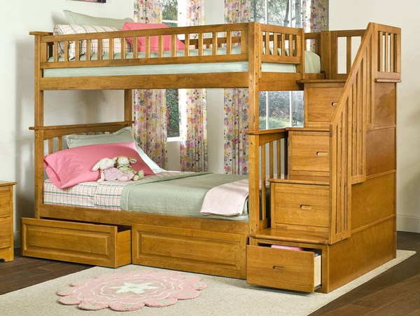 Columbia Caramel Staircase Twin/Twin Raised Panel Drawers Bunk Bed AB55627
