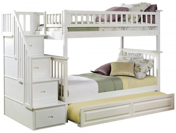 Columbia White Staircase Twin/Twin Raised Panel Trundle Bunk Bed AB55632