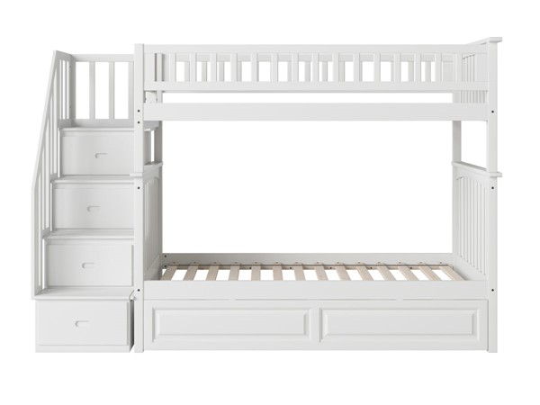 Atlantic Furniture Columbia White Staircase Twin Over Twin Bunk Bed with Raised Panel Trundle AB55632