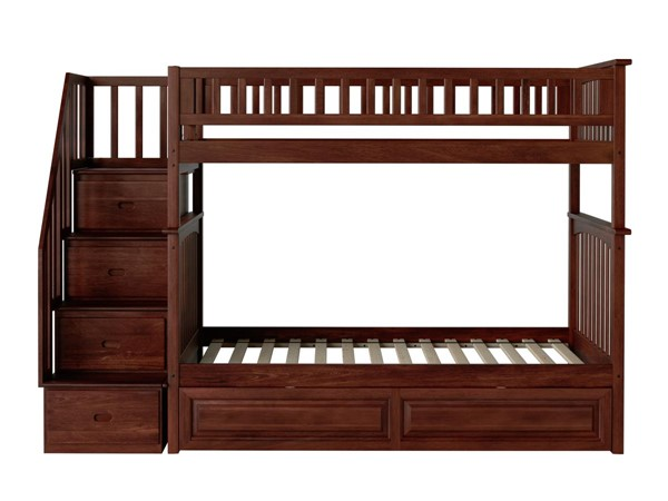 Atlantic Furniture Columbia Walnut Staircase Twin Over Twin Bunk Bed with Raised Panel Trundle AB55634