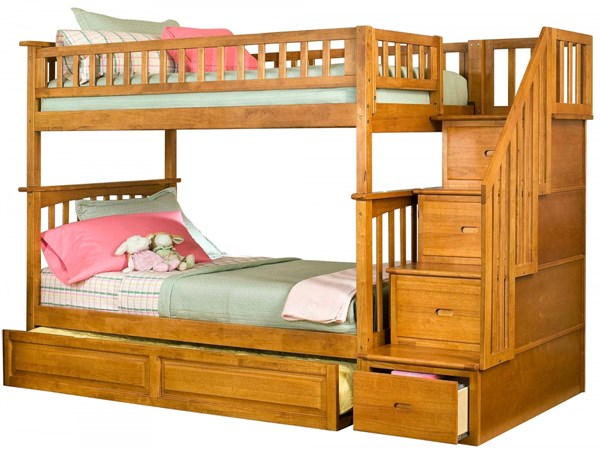 Columbia Caramel Staircase Twin/Twin Raised Panel Trundle Bunk Bed AB55637