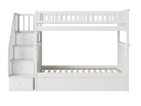 Atlantic Furniture Columbia White Staircase Twin Over Twin Bunk Bed with Two Urban Drawers AB55642