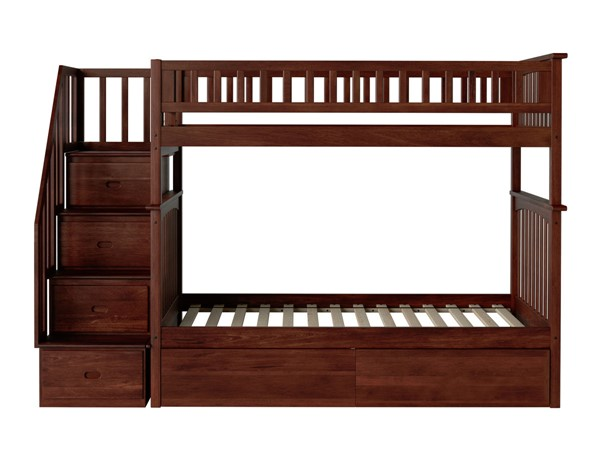 Atlantic Furniture Columbia Walnut Staircase Twin Over Twin Bunk Bed with Two Urban Drawers AB55644