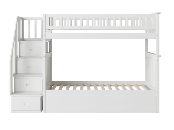 Atlantic Furniture Columbia White Staircase Twin Over Twin Bunk Bed with Twin Urban Trundle AB55652