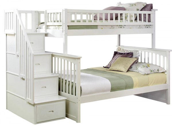 Columbia White Wood Staircase Twin/Full Bunk Bed AB55702