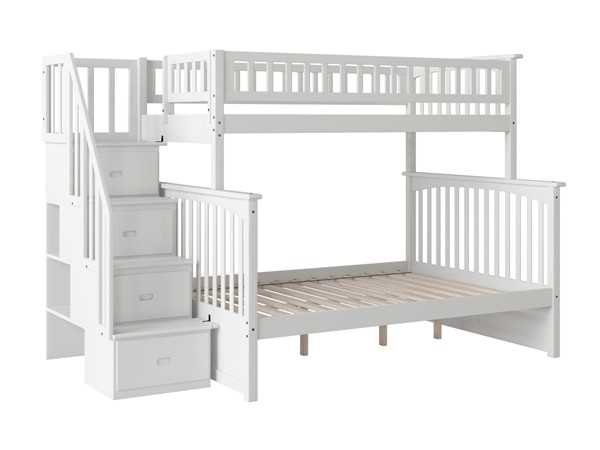 Atlantic Furniture Columbia White Staircase Twin Over Full  Bunk Bed AB55702