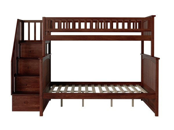 Atlantic Furniture Columbia Walnut Staircase Twin Over Full Bunk Bed AB55704