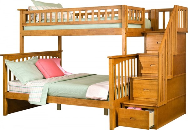 Columbia Caramel Latte Wood Staircase Twin/Full Bunk Bed AB55707