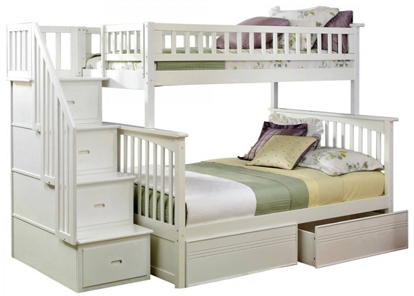 Columbia White Staircase Twin/Full Flat Panel Drawers Bunk Bed AB55712