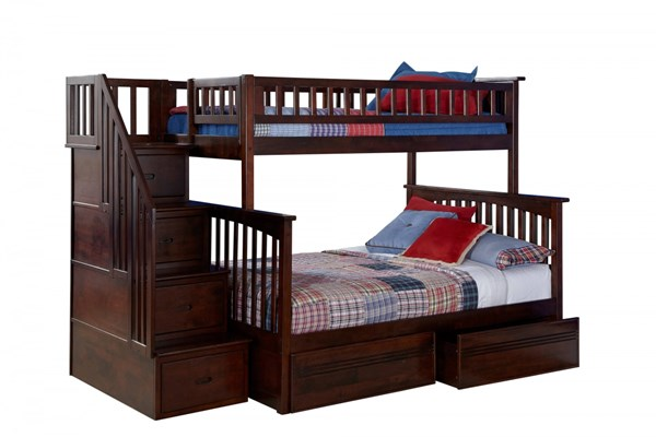 Columbia Walnut Wood Staircase Twin/Full Flat Panel Drawers Bunk Bed AB55714
