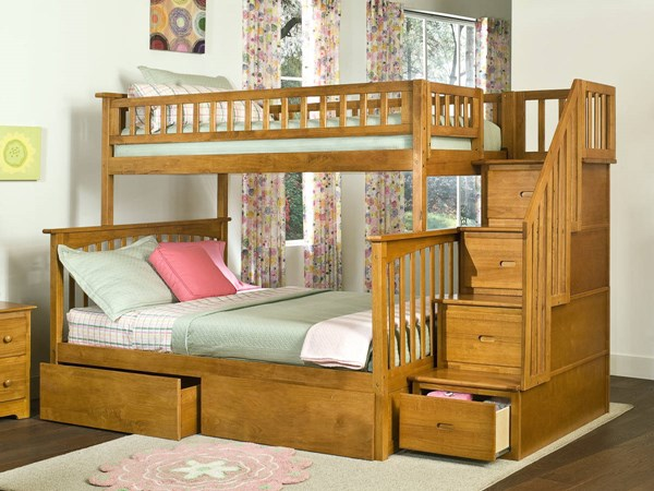 Columbia Caramel Latte Staircase Twin/Full Flat Panel Drawers Bunk Bed AB55717