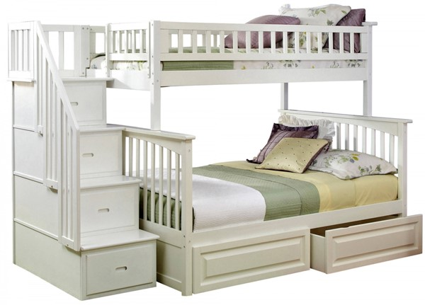 Columbia White Staircase Twin/Full Raised Panel Drawers Bunk Bed AB55722