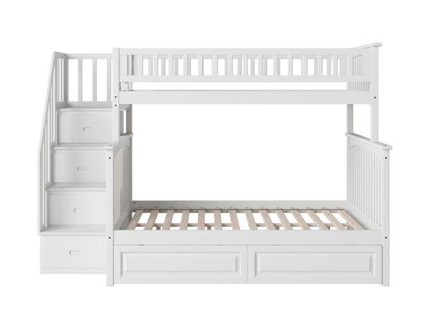 Atlantic Furniture Columbia White Staircase Twin Over Full Bunk Bed with Raised Panel Drawers AB55722