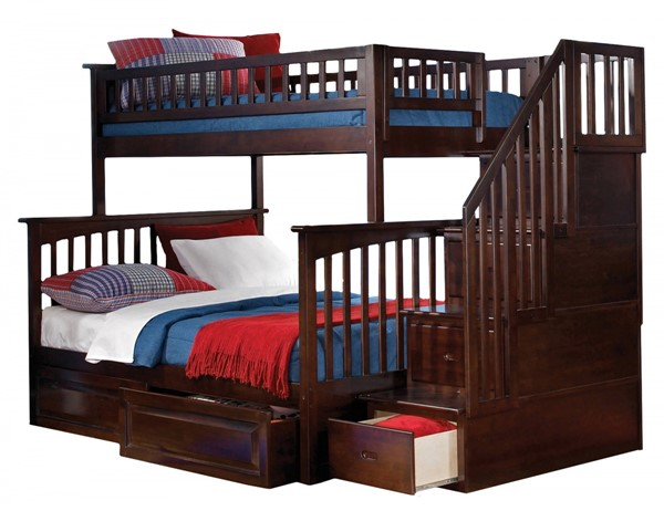 Columbia Walnut Staircase Twin/Full Raised Panel Drawers Bunk Bed AB55724