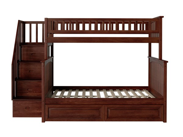 Atlantic Furniture Columbia Walnut Staircase Twin Over Full Bunk Bed with Raised Panel Drawers AB55724