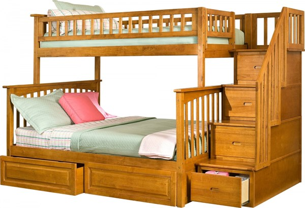Columbia Caramel Staircase Twin/Full Raised Panel Drawers Bunk Bed AB55727