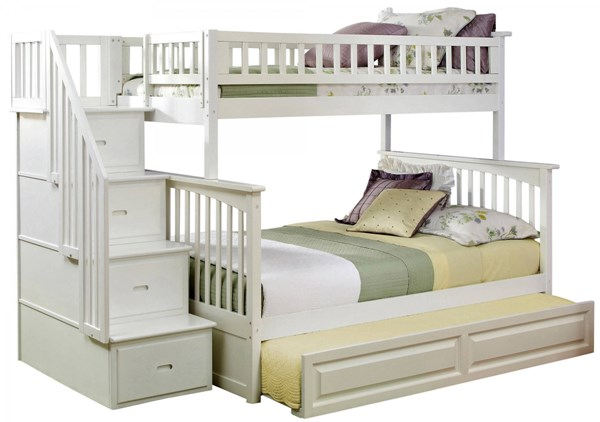 Columbia White Staircase Twin/Full Raised Panel Trundle Bunk Bed AB55732