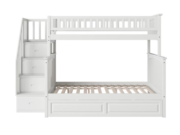 Atlantic Furniture Columbia White Staircase Bunk Beds with Raised Panel Trundle AB557-6-7-8-BB-TRND-VAR