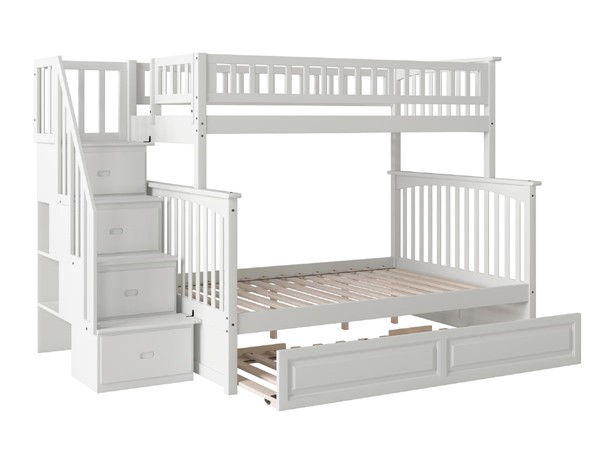 Atlantic Furniture Columbia White Staircase Twin Over Full Bunk Bed with Raised Panel Trundle AB55732