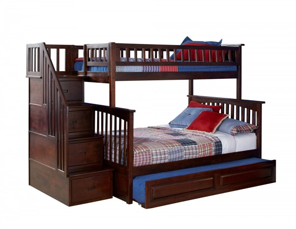 Columbia Walnut Staircase Twin/Full Raised Panel Trundle Bunk Bed AB55734