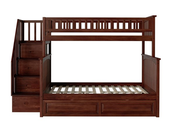 Atlantic Furniture Columbia Walnut Staircase Twin Over Full Bunk Bed with Raised Panel Trundle AB55734