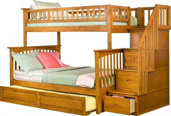 Columbia Caramel Staircase Twin/Full Raised Panel Trundle Bunk Bed AB55737