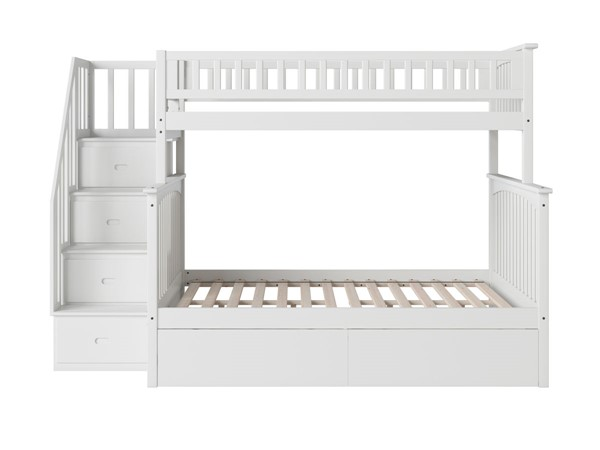 Atlantic Furniture Columbia White Staircase Twin Over Full Bunk Bed with Two Urban Drawers AB55742