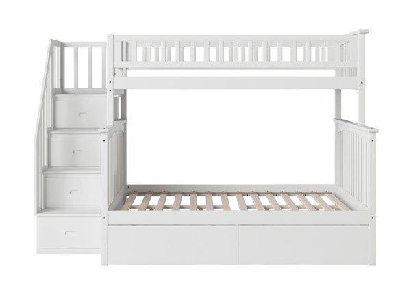 Atlantic Furniture Columbia White Staircase Twin Over Full Bunk Bed with Flat Panel Drawers AB55712